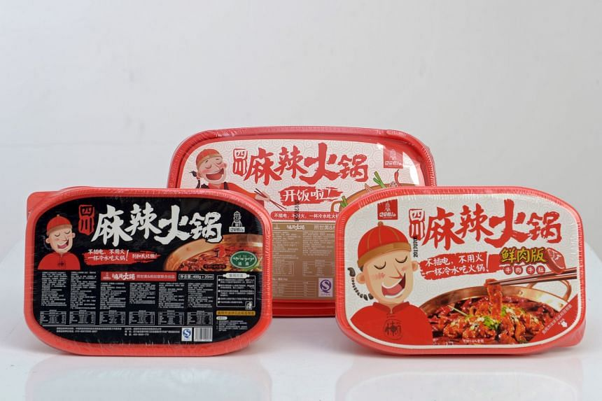 Ba Shu Lan Ren offers three flavours of instant mala hotpot: (above, from left) original, rice and meat and beef.