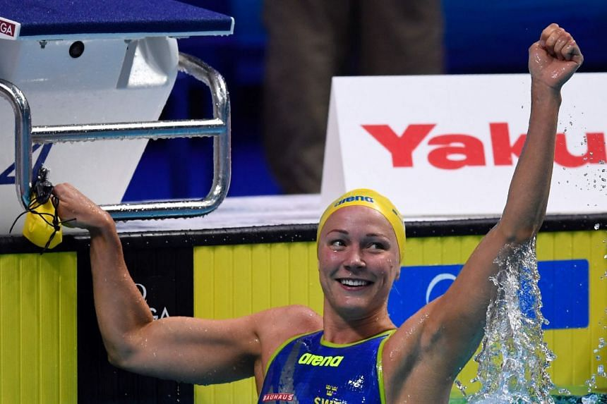 Sjostrom reacts after the 50m freestyle semi-final.