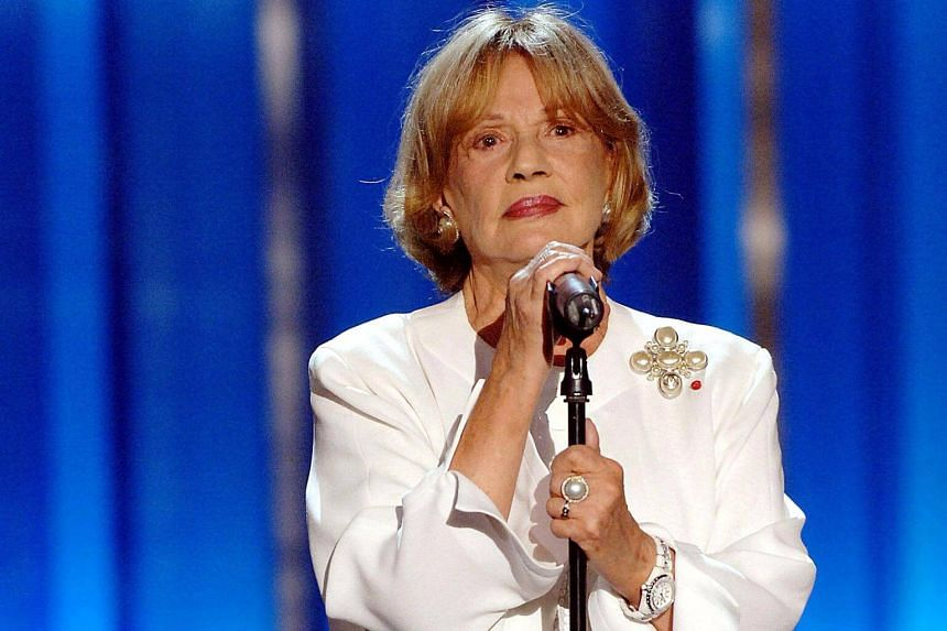 French actress Jeanne Moreau speaks during the opening ceremony of the 54th San Sebastian International Film Festival at the Kursaal Palace in San Sebastian, Spain, on Sept 21, 2006.