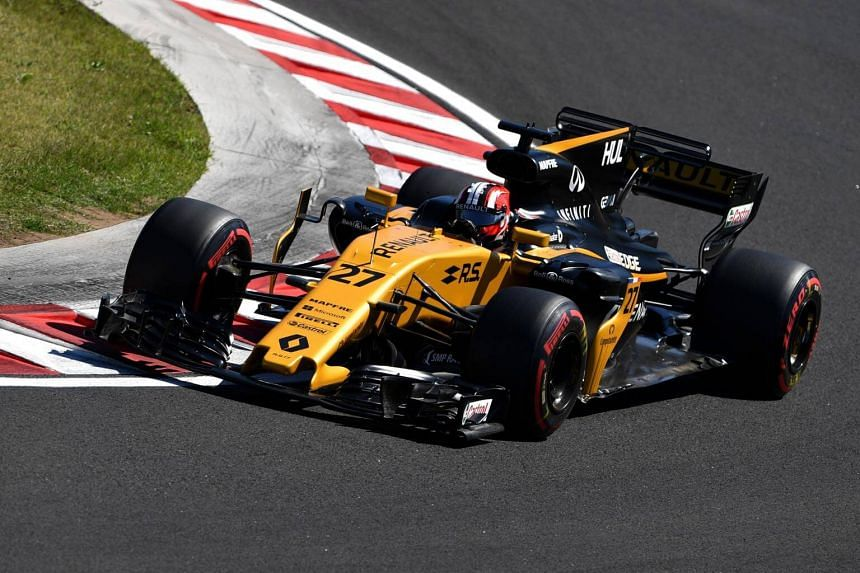 Nico Hulkenberg races during a free practice session at the Hungaroring racing circuit in Budapest on July 29, 2017.