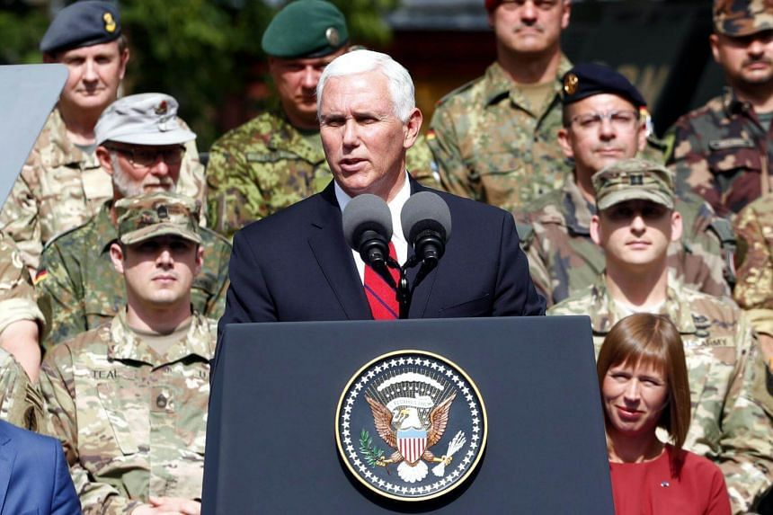 US Vice-President Mike Pence speaking during a visit to Nato's Enhanced Forward Presence mission in Tallinn, Estonia, on July 31, 2017.