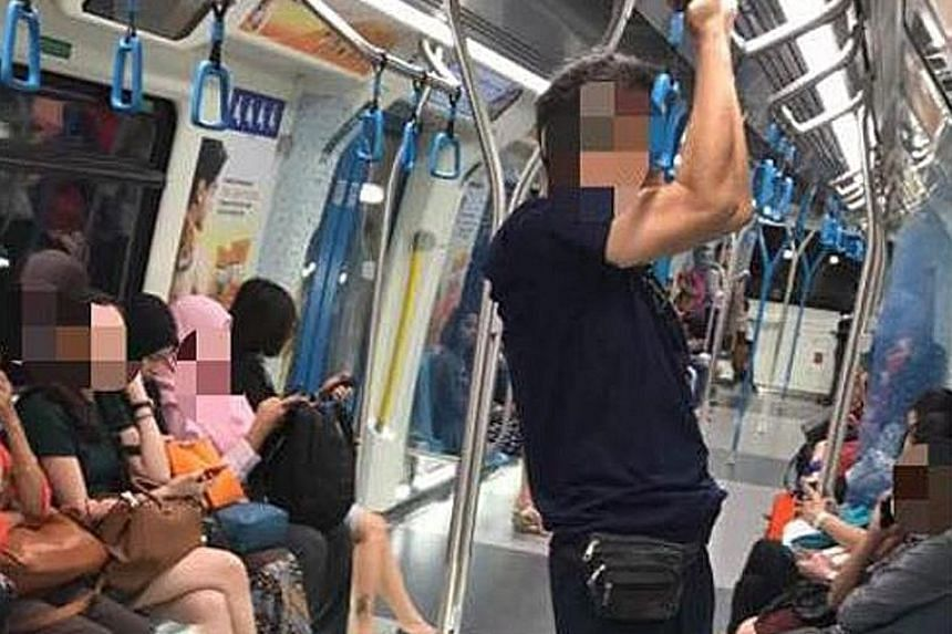 Pictures posted by RapidKL on Facebook show bread stuffed down the side of a seat and a man doing chin-ups in a train. RapidKL uses witty posts to remind people of dos and don'ts on trains.