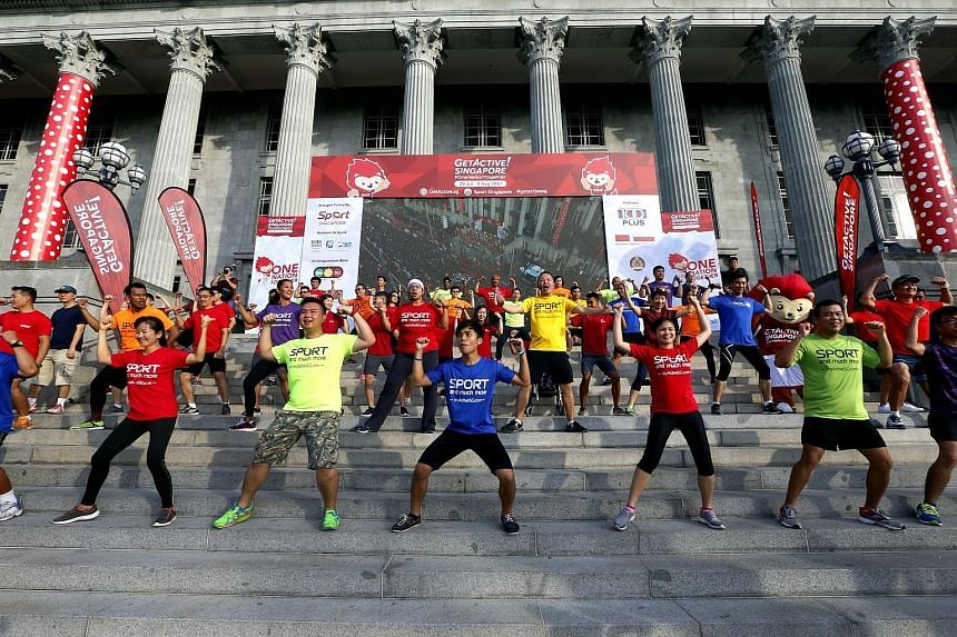 A mass workout held on the steps of the National Gallery yesterday was attended by some of the roughly 10,000 people who took part in the launch of the second edition of GetActive! Singapore at the Padang.
