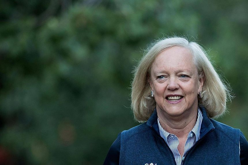 This file photo taken on July 7, 2016, shows Meg Whitman attending the annual Allen & Company Sun Valley Conference, in Sun Valley, Idaho.