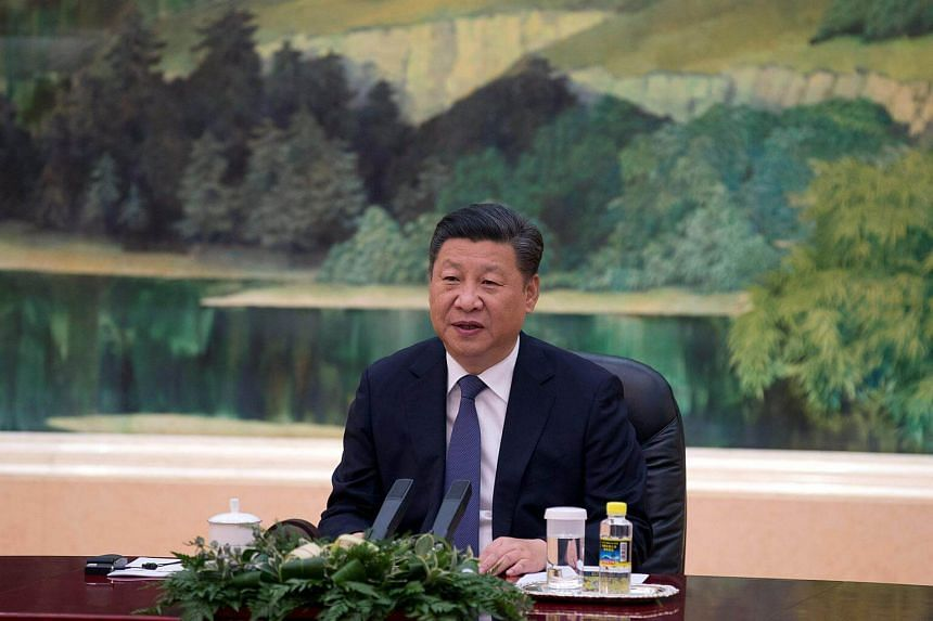 China's President Xi Jinping speaks during a meeting with the delegation from the seventh meeting of BRICS senior representatives at the Great Hall of the People in Beijing, on July 28, 2017.