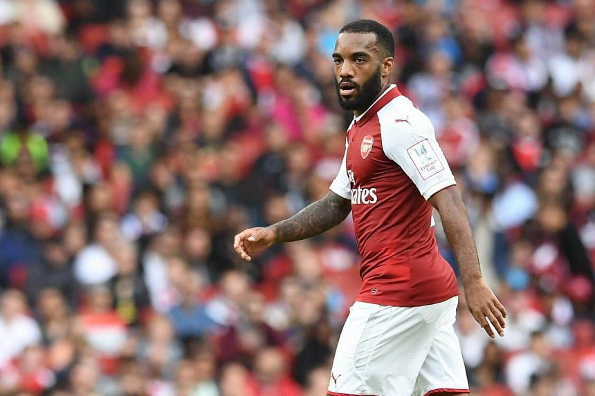 Arsenal's Alexandre Lacazette in action during an Emirates Cup friendly soccer match between Arsenal and Sevilla FC in London, Britain, on July 30, 2017.