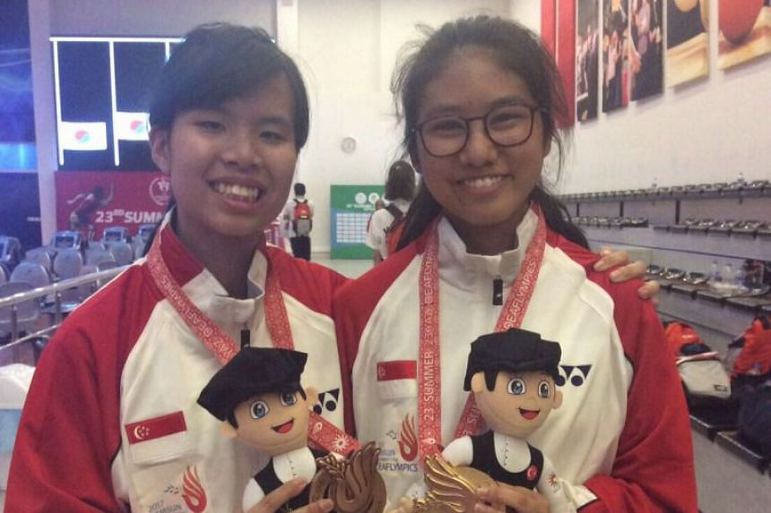National bowlers Kimberly Quek (left) and Naomi Yokoyama, who are deaf, secured Singapore's first ever medals at the Deaflympics with a bronze and gold medal respectively in the women's Masters event on July 29, 2017 in Samsun, Turkey.