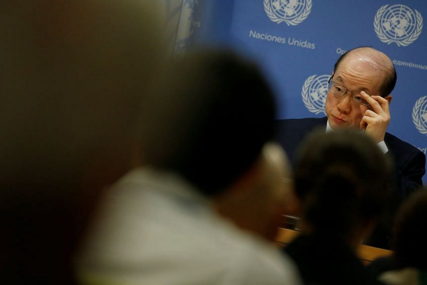 China's Ambassador to the United Nations Liu Jieyi speaks at a news conference at UN Headquarters in New York City.