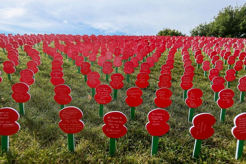 Cut-out poppies with messages dedicated to the soldiers who fell during World War I written on them, on the lawn at the Tyne Cot Commonwealth War Graves Cemetery in Zonnebeke, Belgium. It is as part of a series of commemorations for the 100th anniver