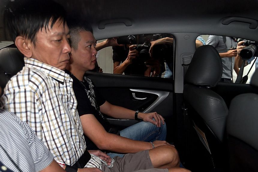 Khor Tzoong Meng (at left) was sentenced to jail yesterday after he pleaded guilty to a charge of culpable homicide for slashing Mr Ang Kim Keat. The coffee shop (below) in Hougang Avenue 3 was cordoned off after the incident on Feb 25 last year.