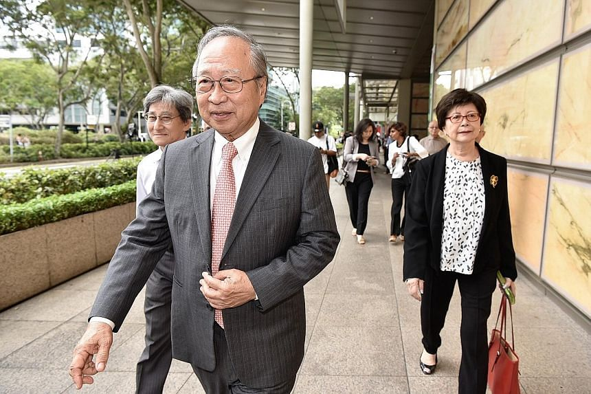 """Dr Tan Cheng Bock leaving the Supreme Court with his wife Cecilia. He told reporters after the hearing: """"If (the court decides) we are wrong, then we will accept it... But if we are right, then the Government must also accept it."""""""