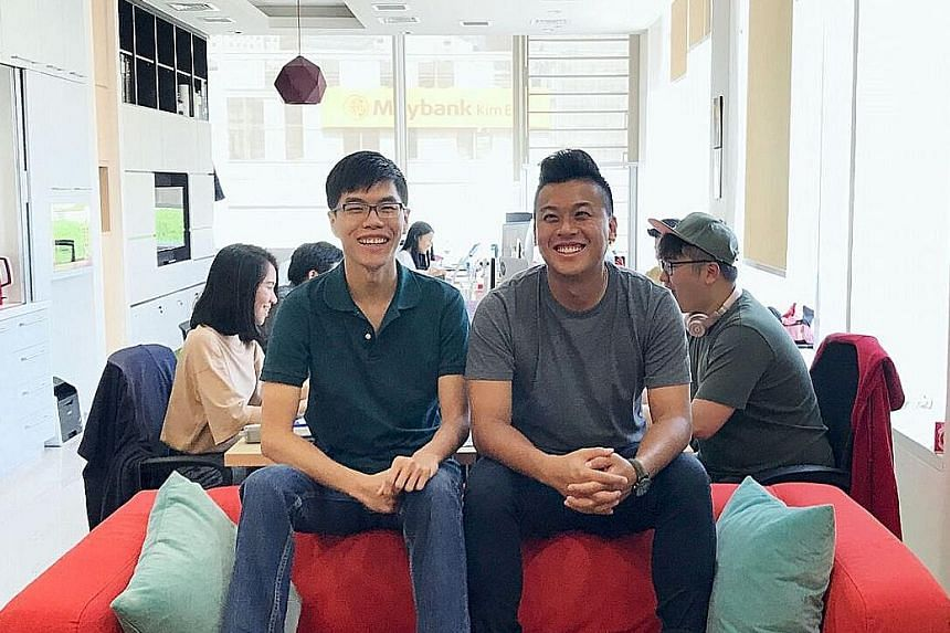 Hapz co-founders Lai Xin Chu (left) and Kendrick Wong at the firm's office in The Central. Hapz helps users save on tickets for attractions and events.