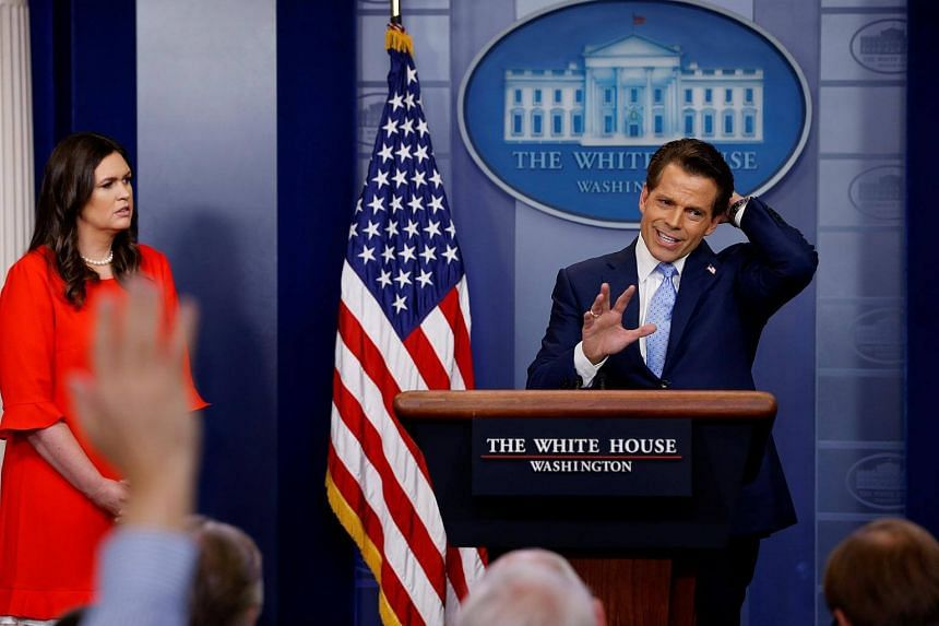 Mr Anthony Scaramucci, seen here with White House press secretary Sarah Huckabee Sanders, speaking at the daily briefing at the White House in Washington, US, on July 21, 2017.
