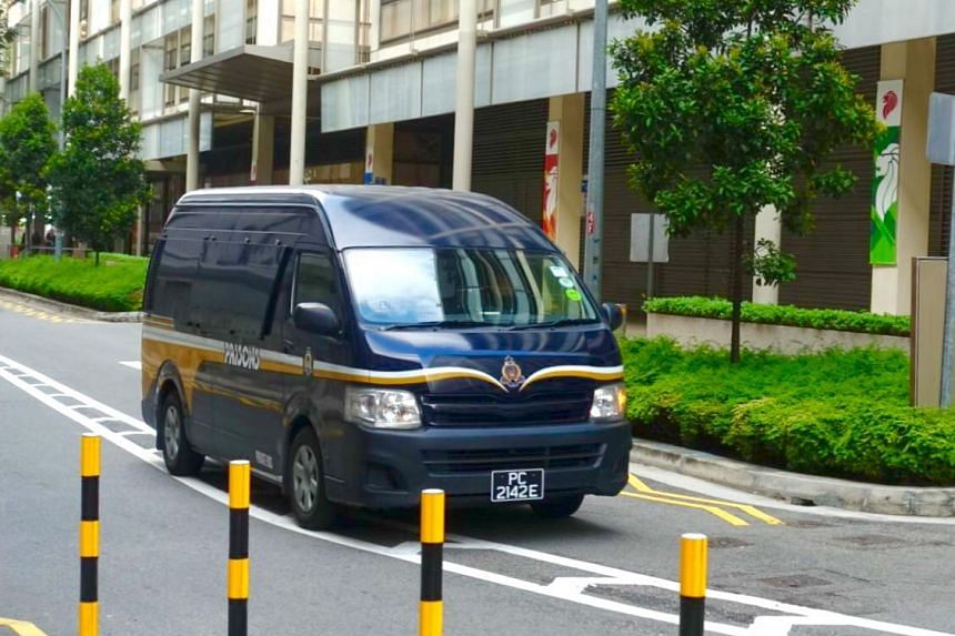 A prison van ferrying former leaders of City Harvest Church arrived at the Supreme Court at 9.05am.