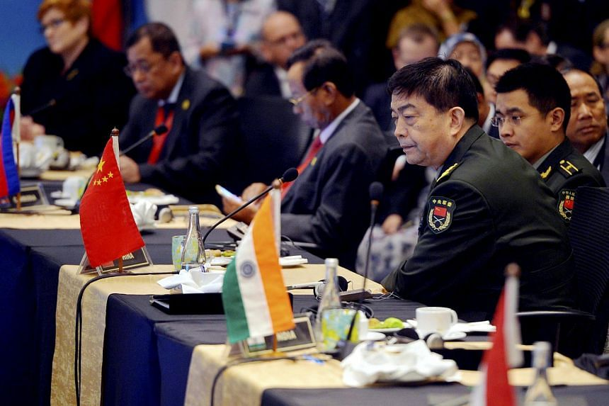 Chinese Defence Minister Chang Wanquan (second from right) at the Asean Defence Ministers' Meeting-Plus on Nov 4, 2015.