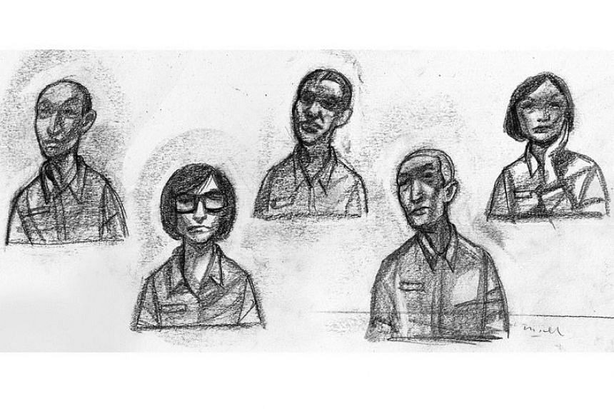 (From left) Tan Ye Peng, Sharon Tan, John Lam, Kong Hee, Serina Wee during the hearing on Aug 1, 2017. ST ILLUSTRATION: MIEL
