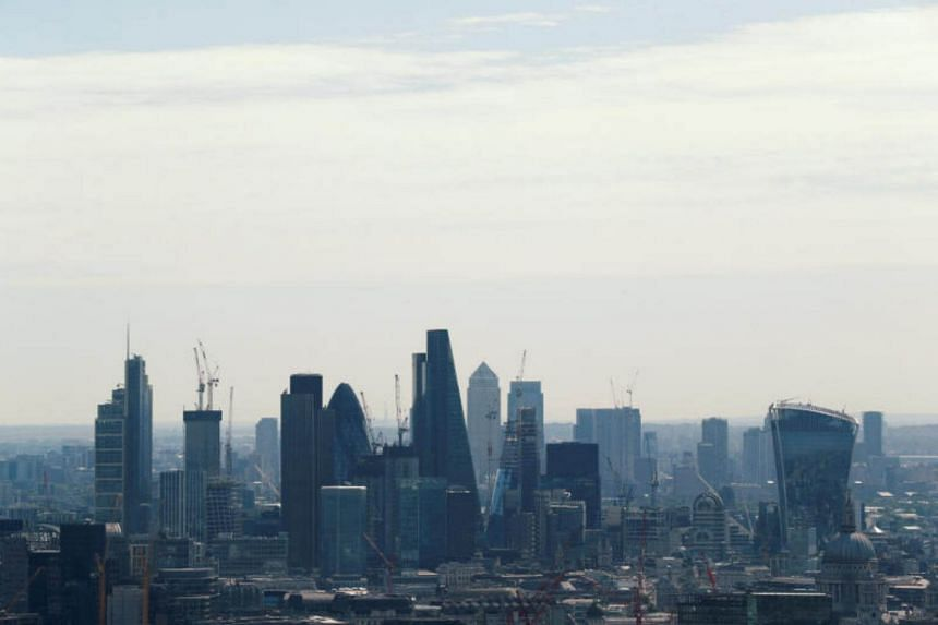 A view of the City of London and Canary Wharf on July 7, 2017.