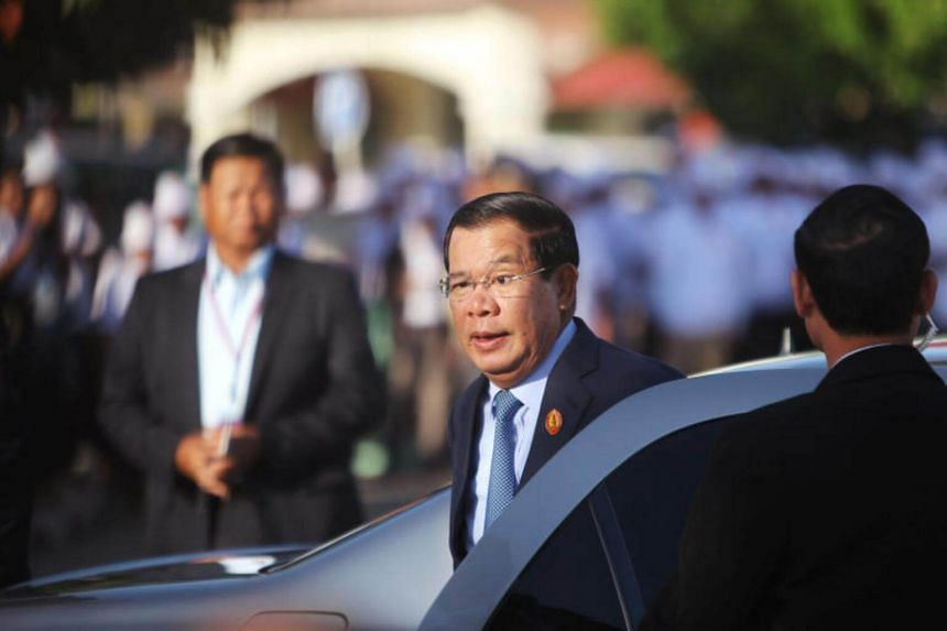 Cambodia's Prime Minister Hun Sen, who is also president of the ruling Cambodian People's Party (CPP), arrives before a ceremony to mark the 66th anniversary of the establishment of the party, at Koh Pich island in Phnom Penh, Cambodia on June 28, 20