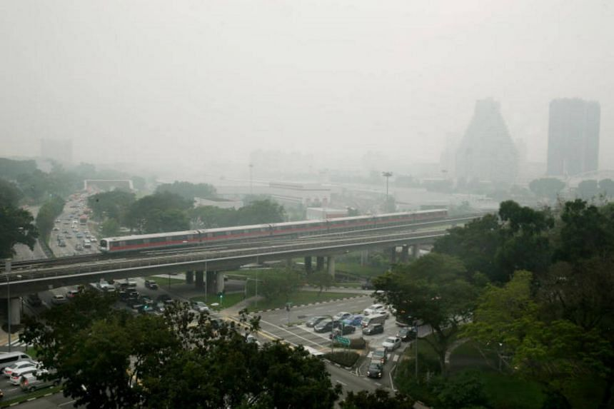 Haze seen in Bishan on April 21, 2017. The NEA said haze from Indonesia is unlikely to affect Singapore.