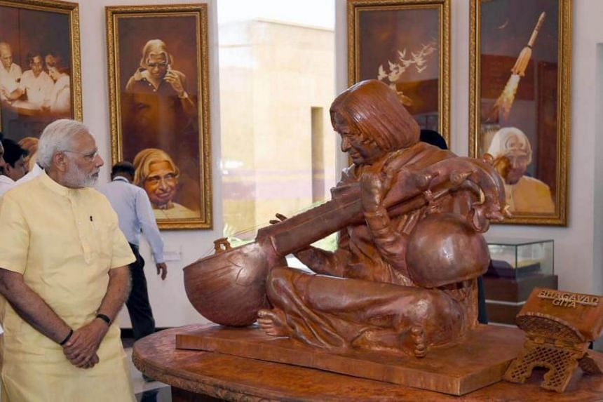 Indian Prime Minister Narendra Modi unveiling the statue of former president A.P.J. Abdul Kalam in Rameswaram, in the Tamil Nadu state on July 27, 2017.