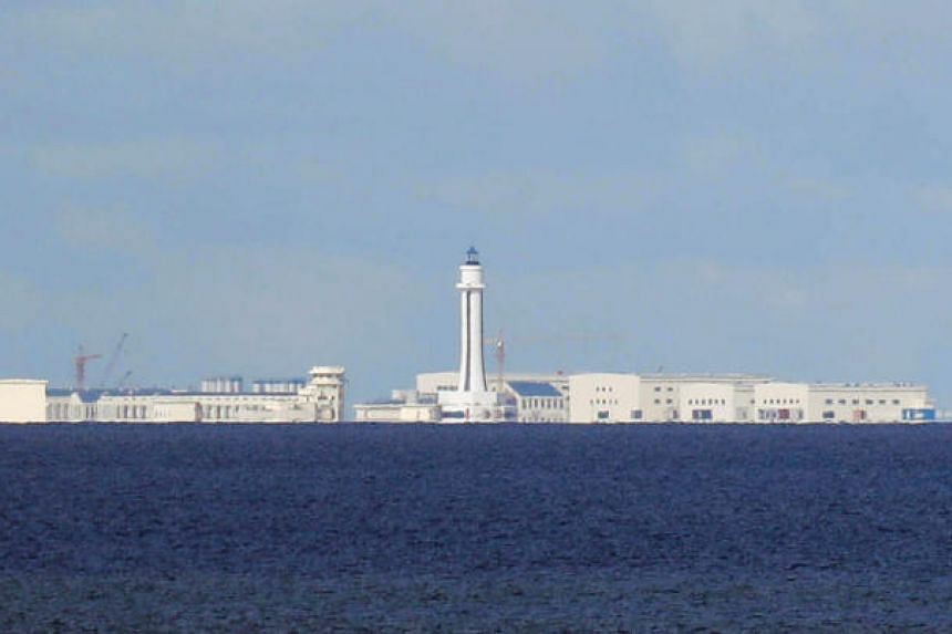 Chinese structures are pictured at the disputed Spratlys in South China Sea on April 21, 2017.