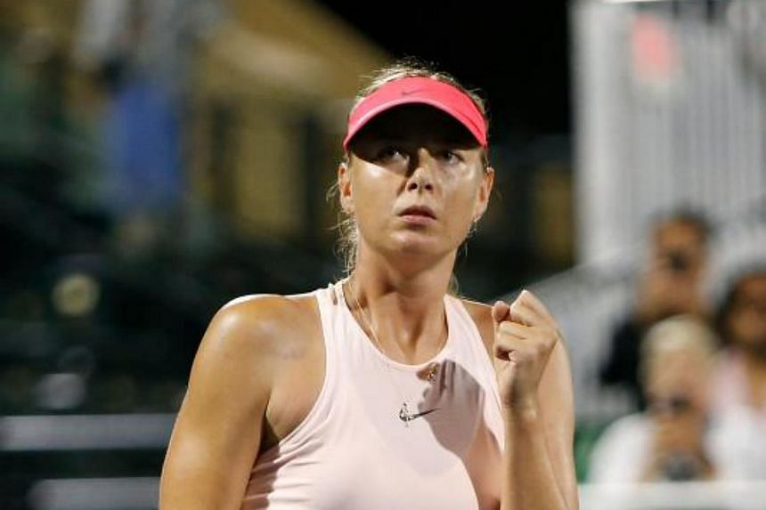 Maria Sharapova celebrates a win in her match against Jennifer Brady of the United States during day 1 of the Bank of the West Classic at Stanford University Taube Family Tennis Stadium in Stanford, California on July 31, 2017.