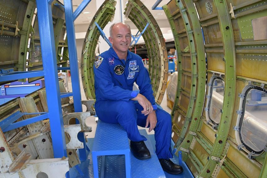 Nasa astronaut commander Jeffrey Williams at Nanyang Polytechnic's Aerospace Hub on Tuesday (Aug 1). He is making public appearances across Singapore this week thanks to local start-up Bhattacharya Space Enterprises.