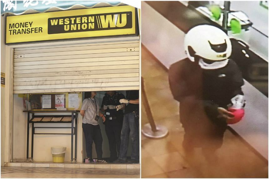 The suspect was wearing a white helmet, black jacket and dark-coloured long pants when he forced a Western Union bank employee to hand over more than $2,000.