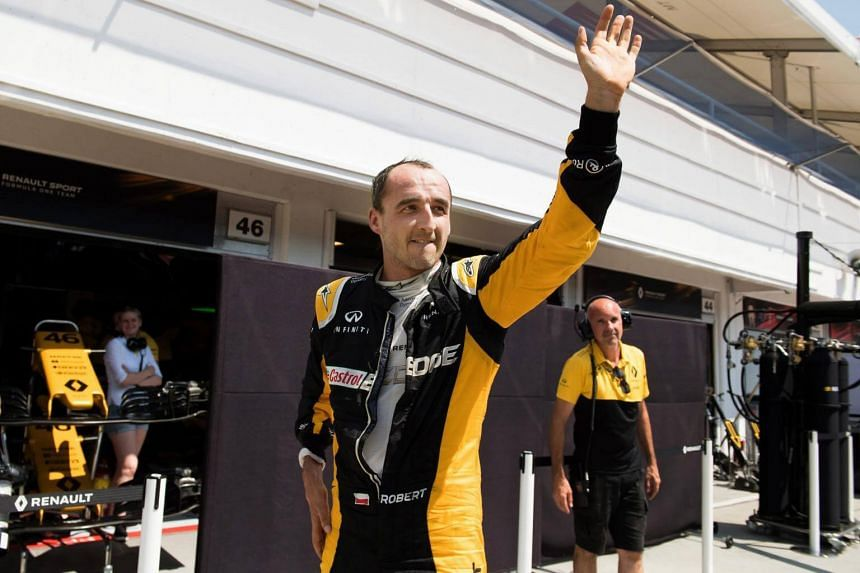Former Formula One driver Robert Kubica participates in a test session for Team Renault on Aug 2, 2017.