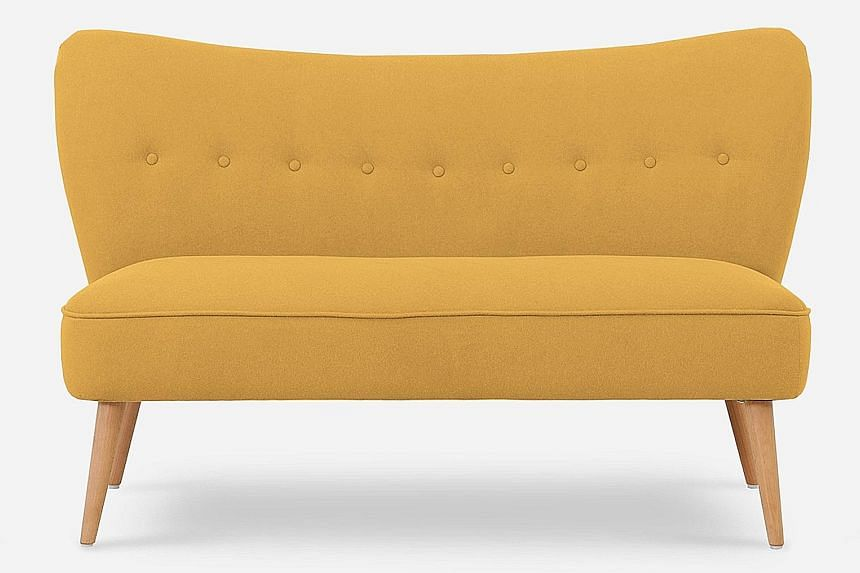 Online furniture store Castlery is giving away three pieces of furniture that it has provided to decorate the ST Lounge at the Singapore Coffee Festival - (clockwise from far left) the Florence Loveseat in Canary Yellow worth $599, the Florence Armch