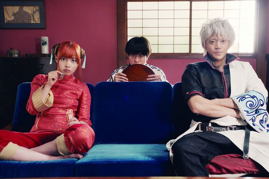 In Gintama, (from left) Kagura (Kanna Hashimoto), Shinpachi Shimura (Masaki Suda) and Gintoki Sakata (Shun Oguri) hunt down a serial killer.
