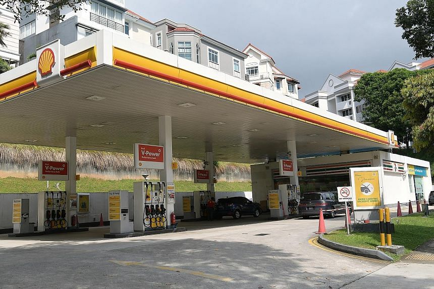 The Shell petrol station in Upper Bukit Timah Road where the robbery took place on Monday. A 48-year-old rider has been arrested for allegedly robbing an employee at knifepoint.