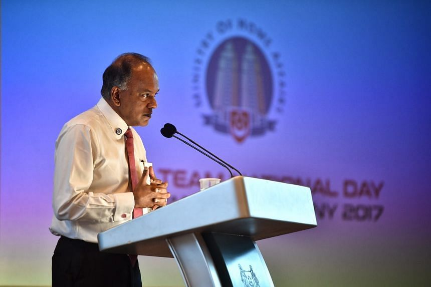Home Affairs and Law Minister K. Shanmugam speaking at the Home Team National Day Observance Ceremony, on Aug 2, 2017.
