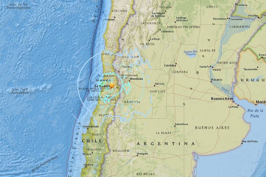 An earthquake with a magnitude of around 5.5 struck near Santiago, the capital of Chile, on Aug 2, 2017.