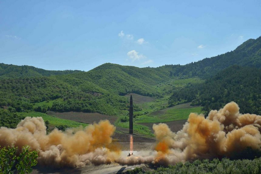 The intercontinental ballistic missile Hwasong-14 is seen during its test launch in this undated photo released by North Korea's Korean Central News Agency (KCNA) in Pyongyang, on July 4, 2017.