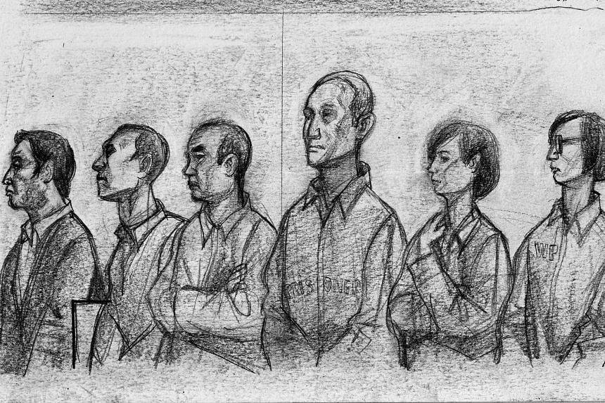 A sketch of (from left) Chew Eng Han, Tan Ye Peng, John Lam, Kong Hee, Serina Wee and Sharon Tan in court yesterday. The six have been convicted of misusing millions of dollars in church funds.