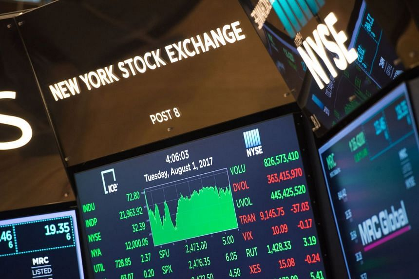 A video display show's the day's closing numbers on the floor at the closing bell of the Dow Jones Industrial Average, on Aug 1, 2017.
