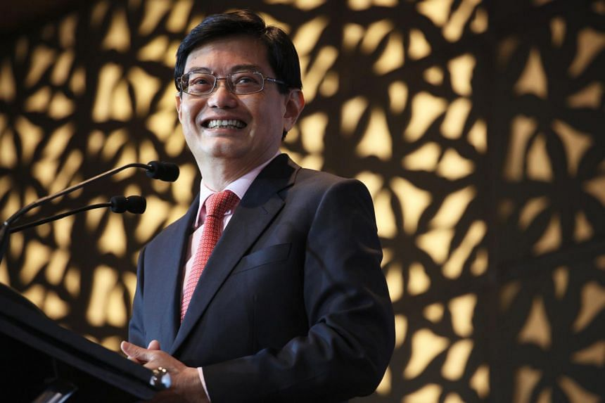 Finance Minister Heng Swee Keat speaking at the ESS Annual Dinner 2017. He was recognised as an honorary fellow of the Economic Society of Singapore at the event.