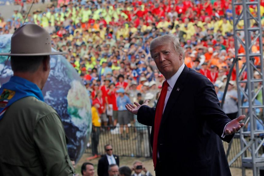 US President Donald Trump reacts as he delivers remarks at the 2017 National Scout Jamboree.