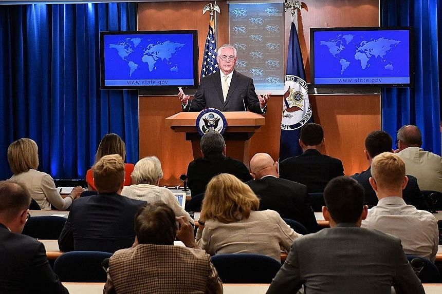 "Striking a conciliatory note on North Korea, US Secretary of State Rex Tillerson said ""we would like to sit and have a dialogue with them""."