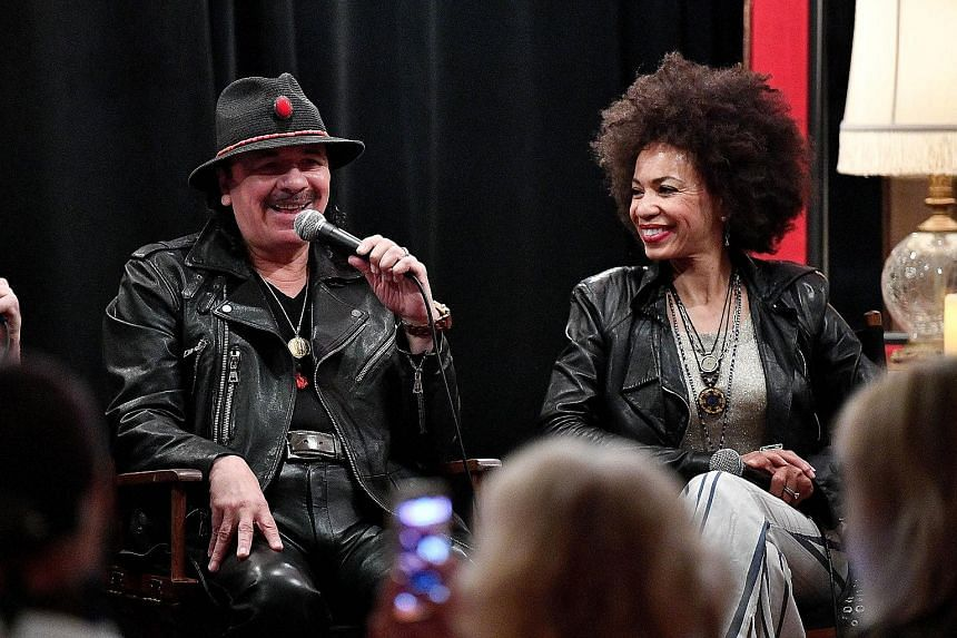 Carlos Santana and his wife Cindy, a jazz drummer who helped out on the album Power Of Peace.