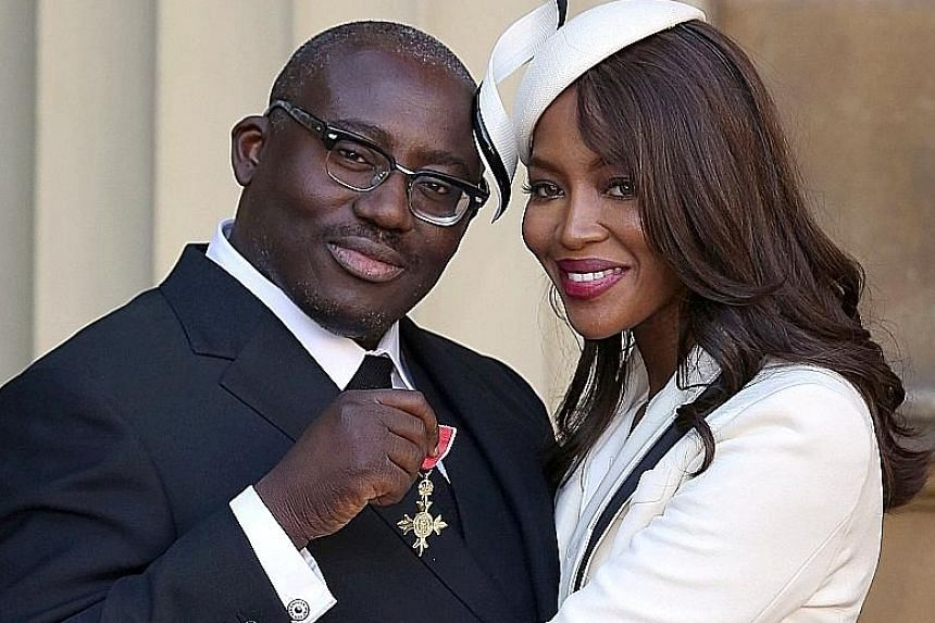 Model Naomi Campbell with Mr Edward Enninful after he received his Order of the British Empire in October last year.