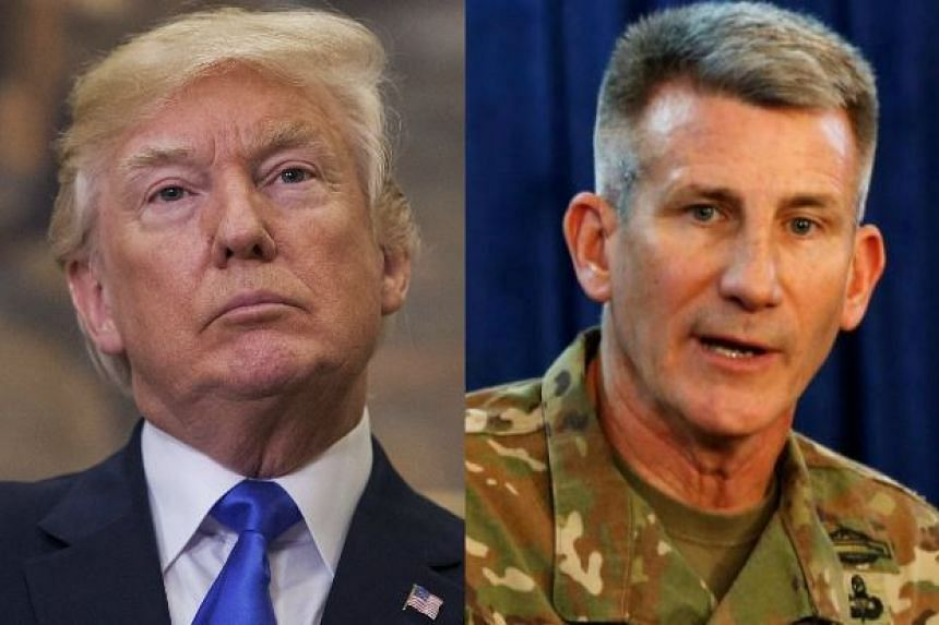 Donald Trump's (left) scepticism on the war in Afghanistan included a suggestion of firing Army General John Nicholson.