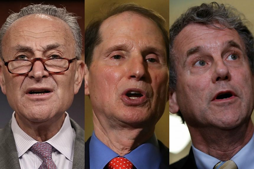 (From left) Chuck Schumer, Ron Wyden and Sherrod Brown urged US President Donald Trump to stand up to China as he prepares to launch an inquiry into Beijing's intellectual property and trade practices.