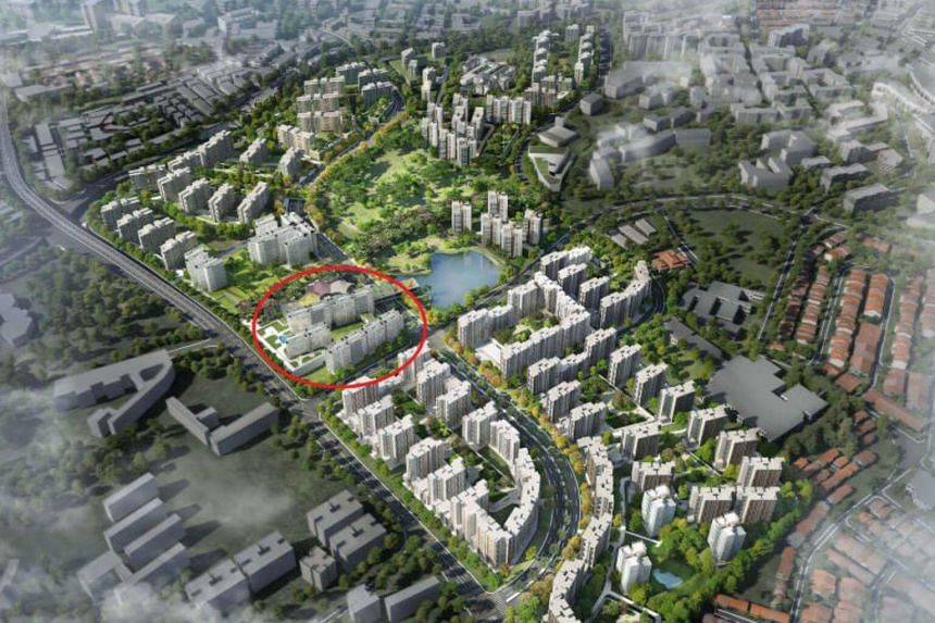 An artist's impression of Bidadari Estate, with the site won by  a consortium linked to Singapore Press Holdings and Kajima Development marked in red outline.
