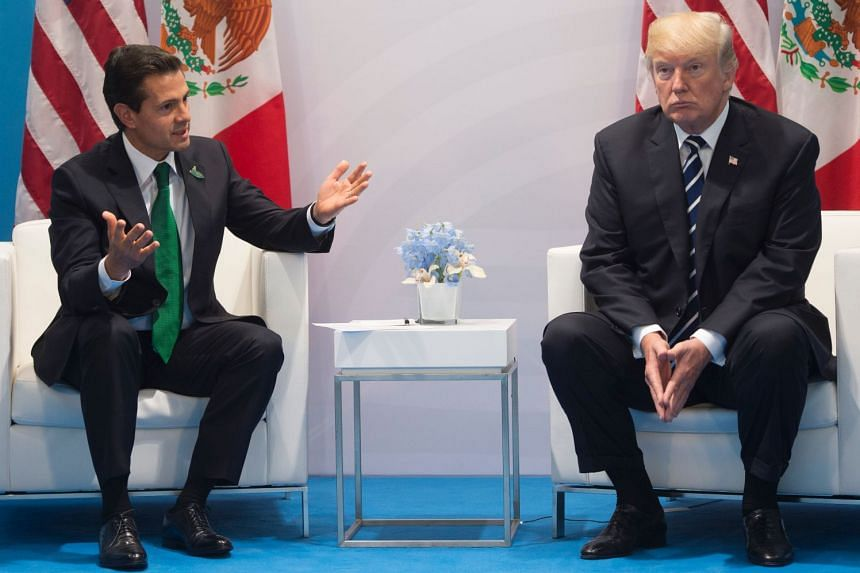 Trump (right) and Pena Nieto hold a meeting on the sidelines of the G-20 Summit in Hamburg, Germany, July 7, 2017.