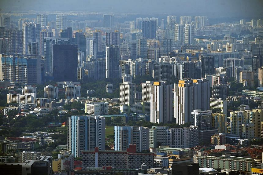 An aerial view of HDB flats taken from 1-Altitude bar.