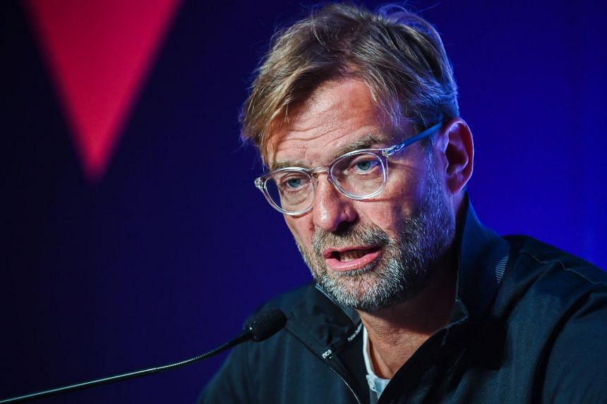 Liverpool football manager Jurgen Klopp speaks at a press conference in Hong Kong on July 18, 2017, ahead of the 2017 Premier League Asia Trophy being played on July 19 and 22.