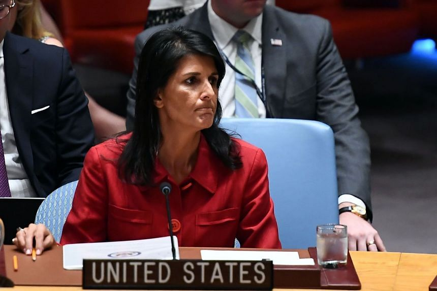 US Ambassador to the United Nations Nikki Haley as she listens during a Security Council meeting on North Korea at the UN headquarters in New York.