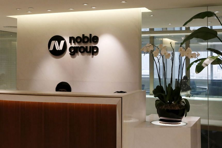 The reception of Noble Group is seen at its headquarters in Hong Kong.